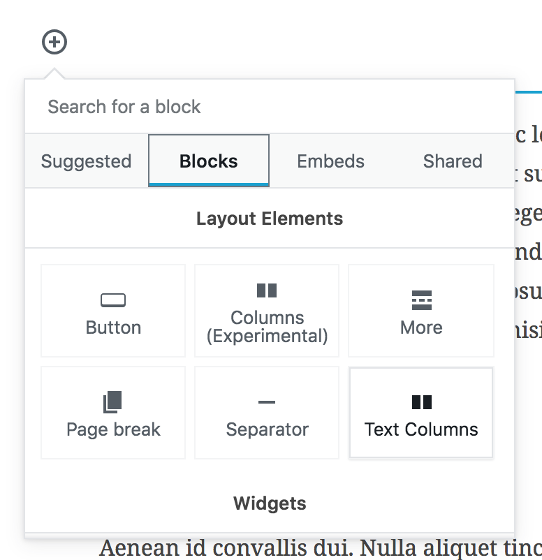 "The Page Break block in Gutenberg is located in the Layout Elements section of the ""Blocks"" tab."